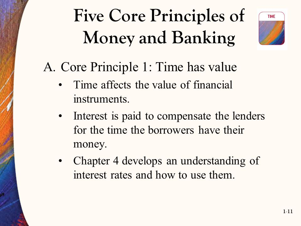 1-11 Five Core Principles of Money and Banking A.Core Principle 1: Time has value Time affects the value of financial instruments. Interest is paid to