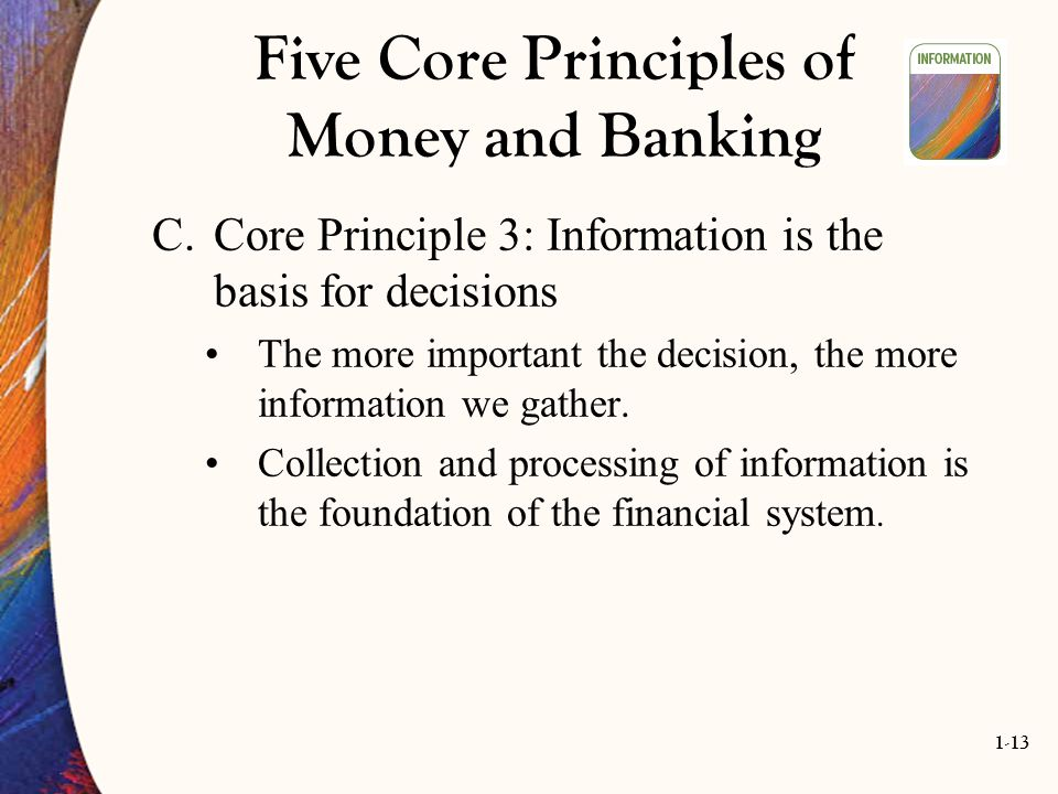 1-13 Five Core Principles of Money and Banking C.Core Principle 3: Information is the basis for decisions The more important the decision, the more in