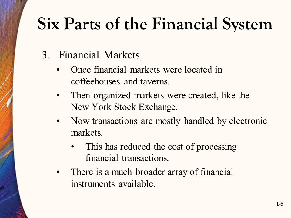 1-6 Six Parts of the Financial System 3.Financial Markets Once financial markets were located in coffeehouses and taverns. Then organized markets were