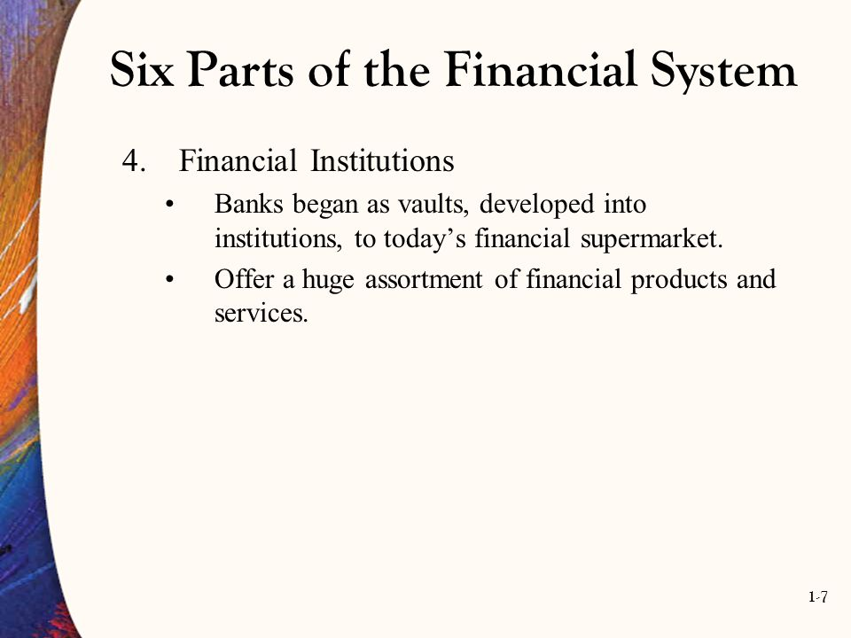 1-7 Six Parts of the Financial System 4.Financial Institutions Banks began as vaults, developed into institutions, to today's financial supermarket. O