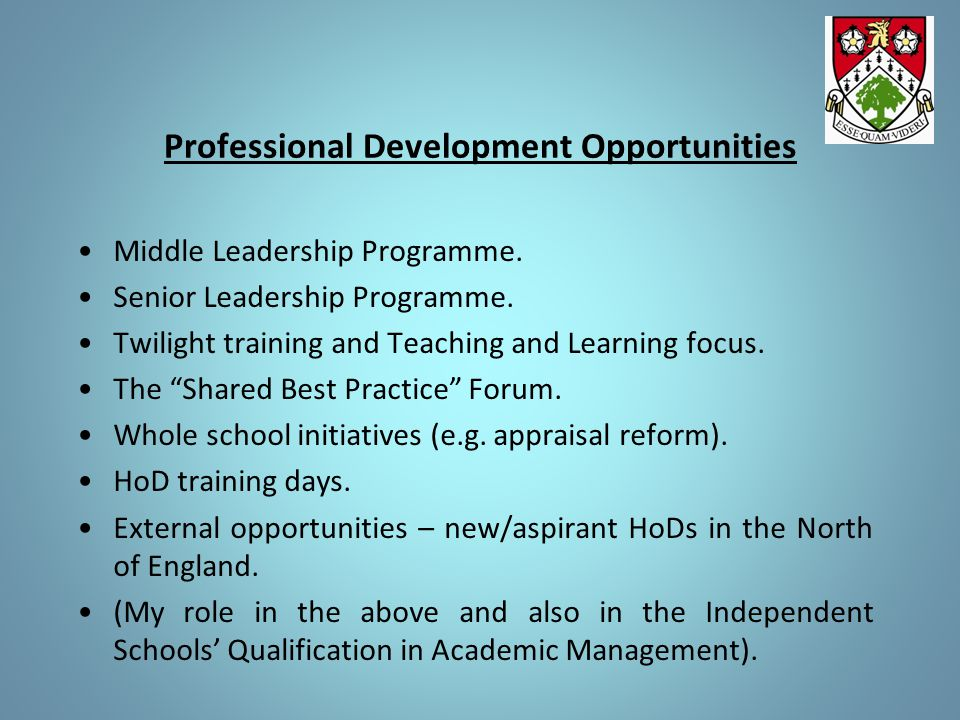 Professional Development Opportunities Middle Leadership Programme.