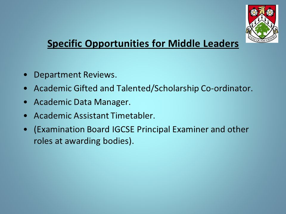 Specific Opportunities for Middle Leaders Department Reviews. Academic Gifted and Talented/Scholarship Co-ordinator. Academic Data Manager. Academic A
