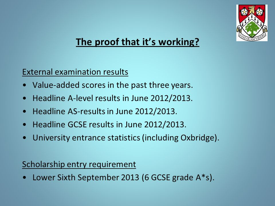 The proof that it's working? External examination results Value-added scores in the past three years. Headline A-level results in June 2012/2013. Head