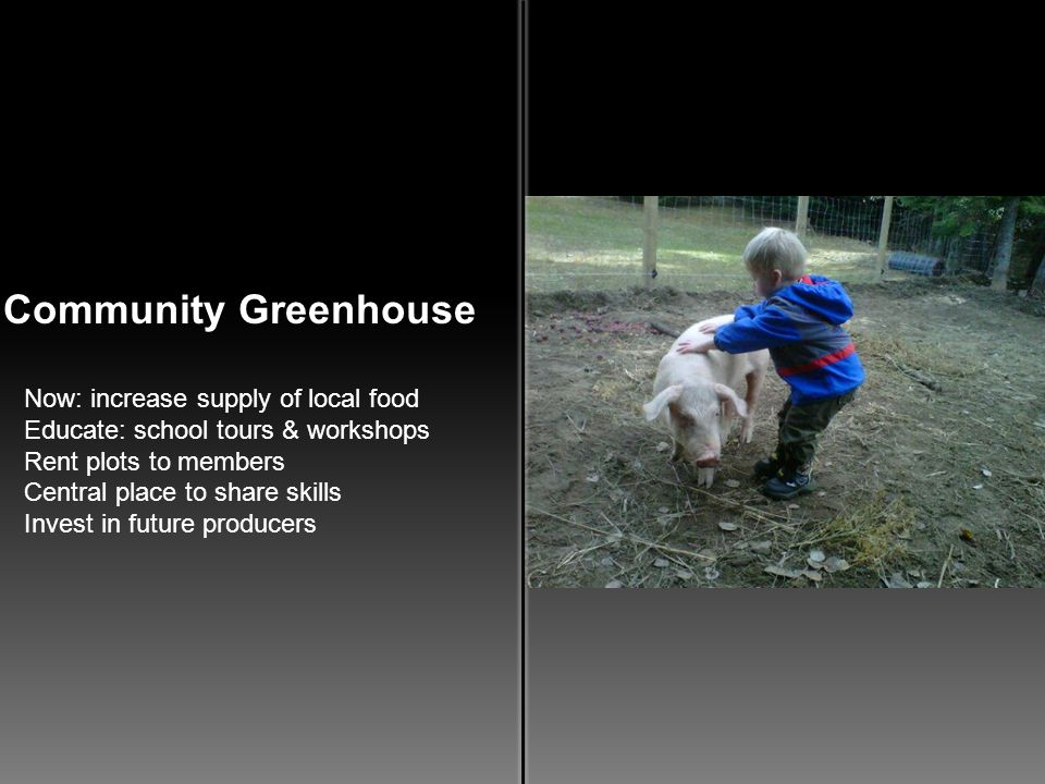 Community Greenhouse Now: increase supply of local food 1.Educate: school tours & workshops 2.Rent plots to members 3.Central place to share skills 4.