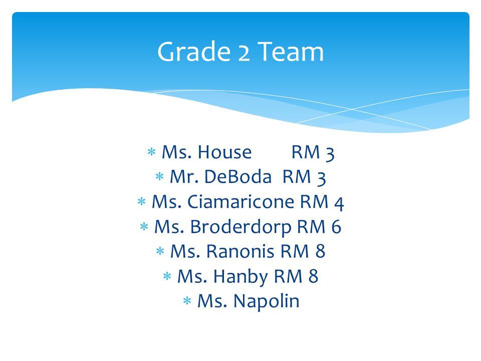 Ms. HouseRM 3  Mr. DeBoda RM 3  Ms. Ciamaricone RM 4  Ms.