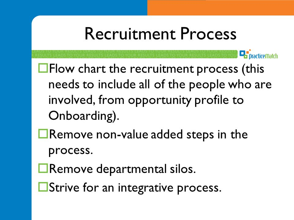 Recruitment Process  Flow chart the recruitment process (this needs to include all of the people who are involved, from opportunity profile to Onboarding).