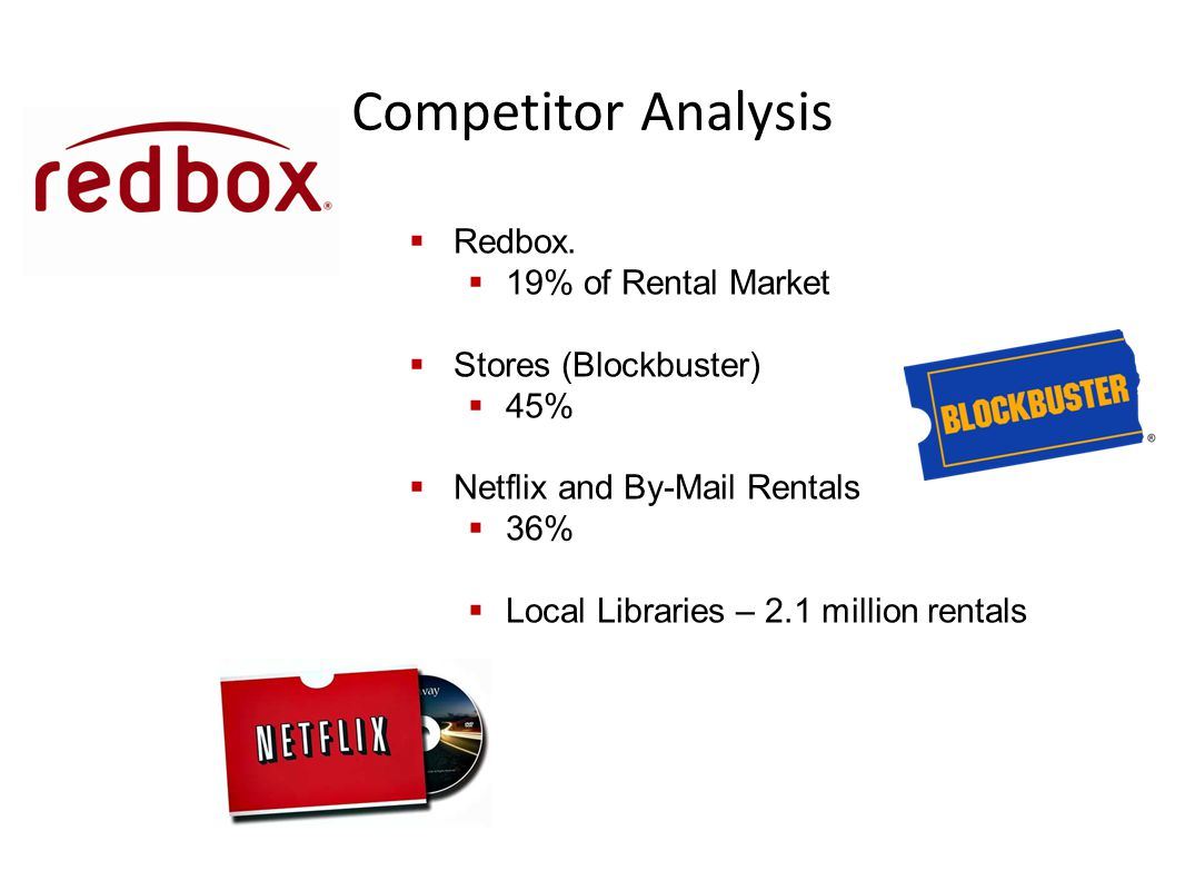 Competitor Analysis  Redbox.  19% of Rental Market  Stores (Blockbuster)  45%  Netflix and By-Mail Rentals  36%  Local Libraries – 2.1 million