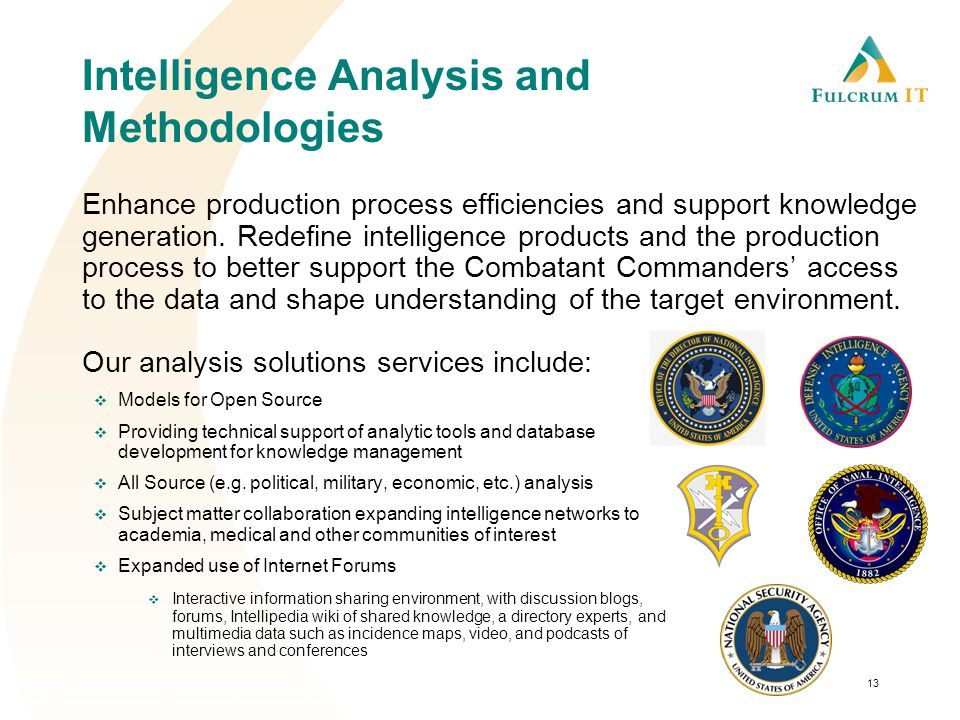 Intelligence Analysis and Methodologies Enhance production process efficiencies and support knowledge generation.