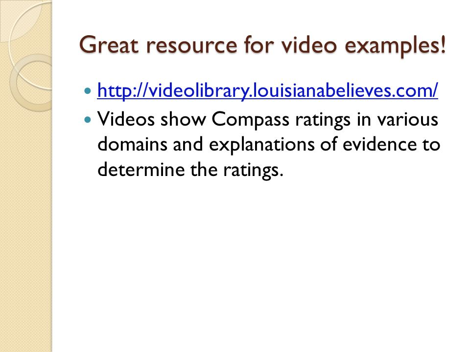 Great resource for video examples.