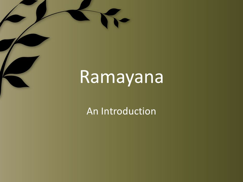 Ramayana An Introduction