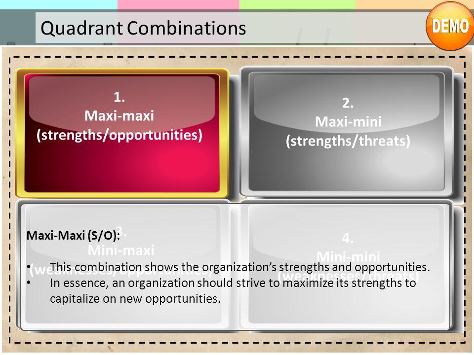 Quadrant Combinations 1. Maxi-maxi (strengths/opportunities) 2. Maxi-mini (strengths/threats) 3. Mini-maxi (weaknesses/opportunities) 4. Mini-mini (we