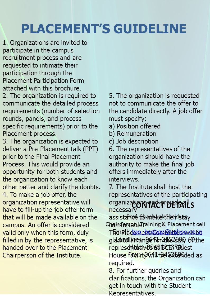 PLACEMENT'S GUIDELINE 1.