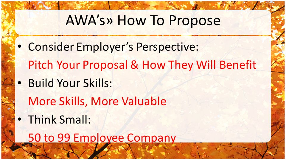 AWA's» How To Propose Consider Employer's Perspective: Pitch Your Proposal & How They Will Benefit Build Your Skills: More Skills, More Valuable Think Small: 50 to 99 Employee Company