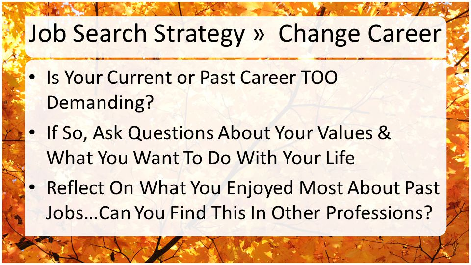 Job Search Strategy » Change Career Is Your Current or Past Career TOO Demanding? If So, Ask Questions About Your Values & What You Want To Do With Yo