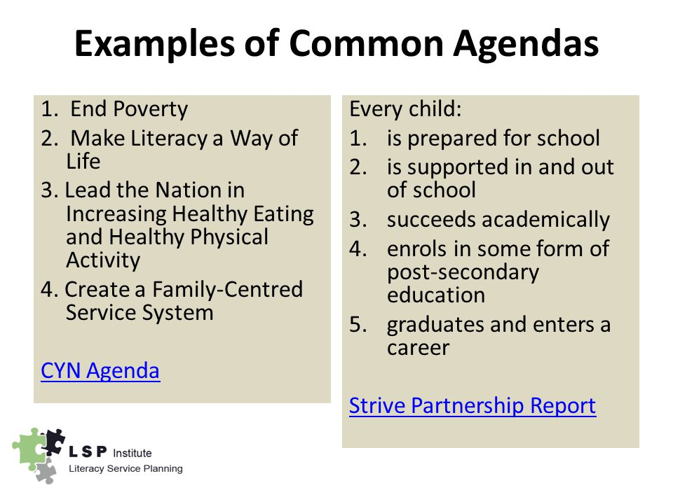 Examples of Common Agendas 1. End Poverty 2. Make Literacy a Way of Life 3.