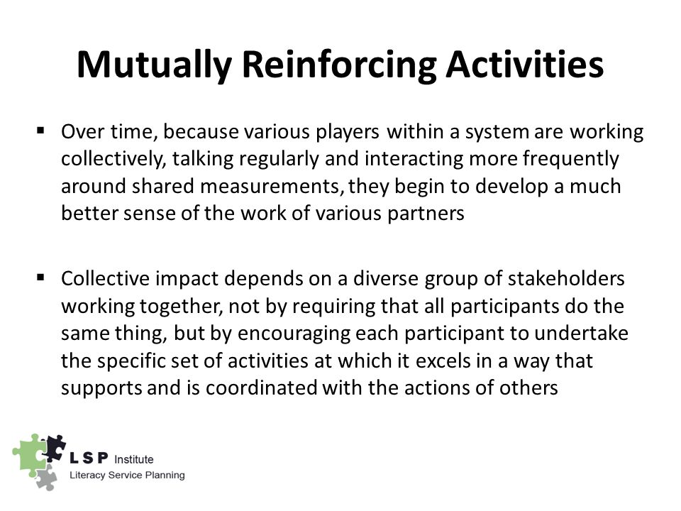 Mutually Reinforcing Activities  Over time, because various players within a system are working collectively, talking regularly and interacting more frequently around shared measurements, they begin to develop a much better sense of the work of various partners  Collective impact depends on a diverse group of stakeholders working together, not by requiring that all participants do the same thing, but by encouraging each participant to undertake the specific set of activities at which it excels in a way that supports and is coordinated with the actions of others