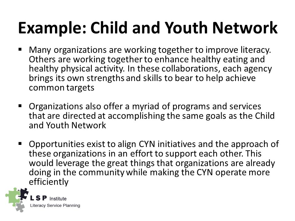 Example: Child and Youth Network  Many organizations are working together to improve literacy.