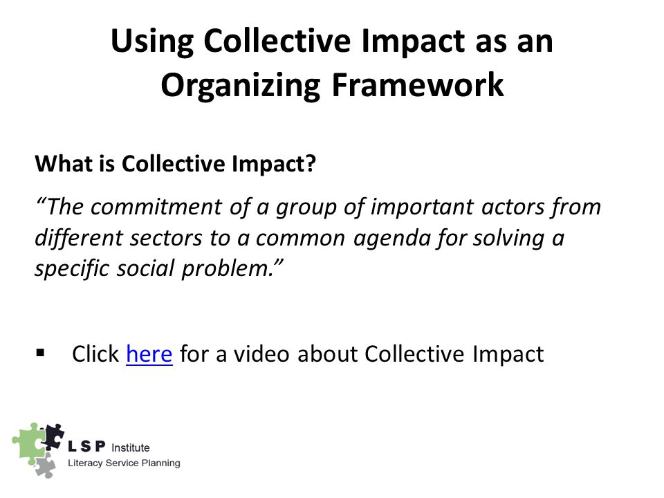 Using Collective Impact as an Organizing Framework What is Collective Impact.