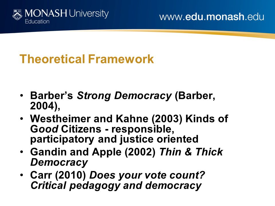Theoretical Framework Barber's Strong Democracy (Barber, 2004), Westheimer and Kahne (2003) Kinds of Good Citizens - responsible, participatory and justice oriented Gandin and Apple (2002) Thin & Thick Democracy Carr (2010) Does your vote count.
