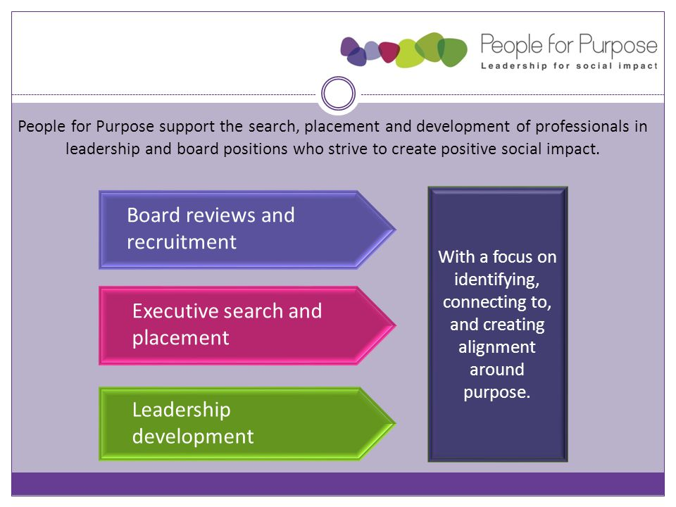 Board reviews and recruitment People for Purpose support the search, placement and development of professionals in leadership and board positions who