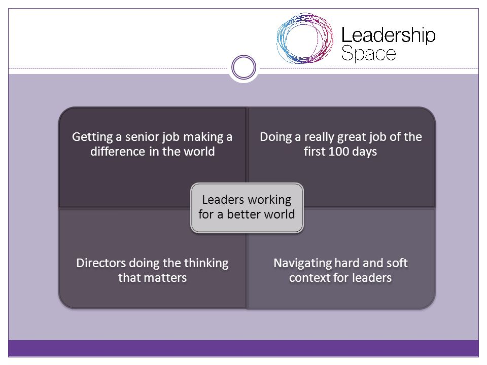 Getting a senior job making a difference in the world Doing a really great job of the first 100 days Directors doing the thinking that matters Navigating hard and soft context for leaders Leaders working for a better world