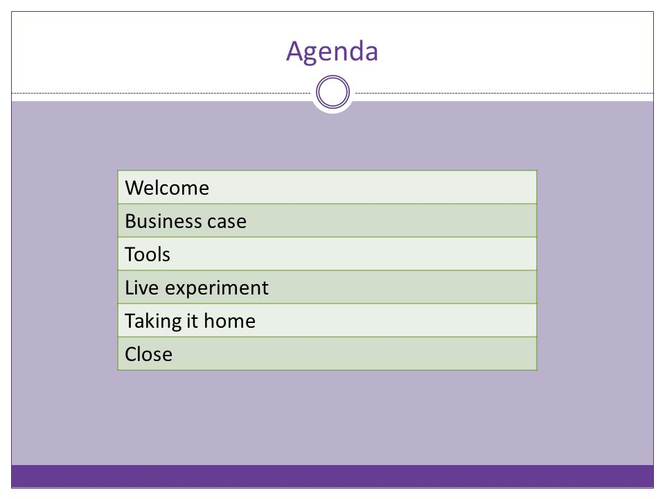 Agenda Welcome Business case Tools Live experiment Taking it home Close