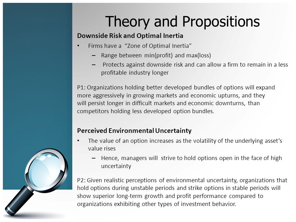 Theory and Propositions Downside Risk and Optimal Inertia Firms have a Zone of Optimal Inertia – Range between min(profit) and max(loss) – Protects against downside risk and can allow a firm to remain in a less profitable industry longer P1: Organizations holding better developed bundles of options will expand more aggressively in growing markets and economic upturns, and they will persist longer in difficult markets and economic downturns, than competitors holding less developed option bundles.