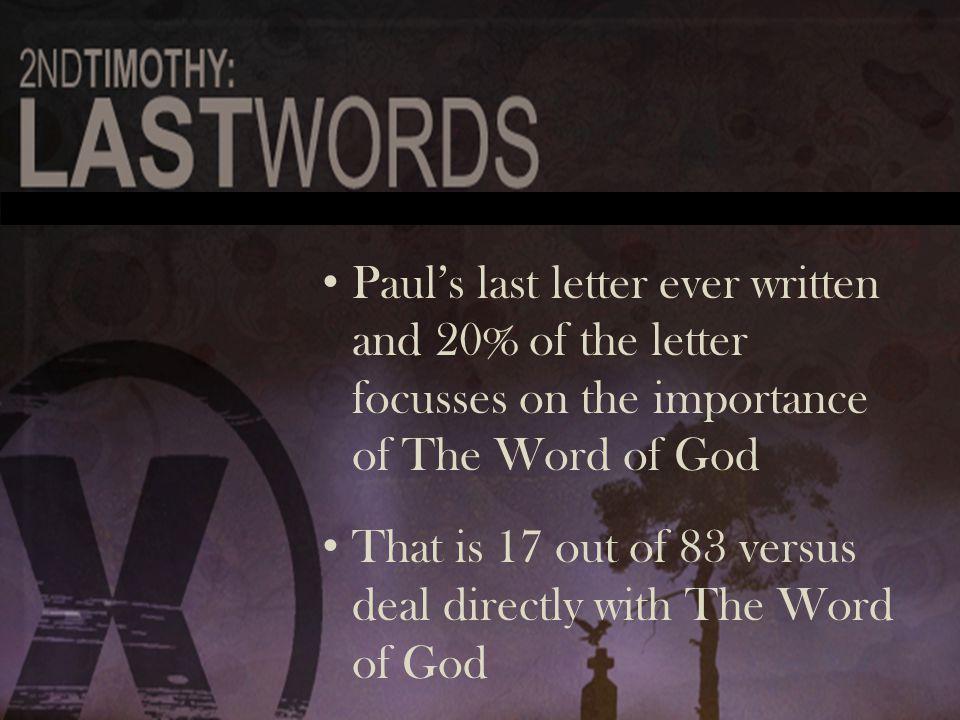 The Protection of the Word 1:13 The Protection of the Word 1:13 The Passing on of the Word 2:2 The Passing on of the Word 2:2 The Pursuit of the Word 2:15 The Pursuit of the Word 2:15 The Presenting of the Word 2:24-25 The Presenting of the Word 2:24-25 The Passiveness of those in the Word 3:7 The Passiveness of those in the Word 3:7 The Personal effects of the Word 3:14-17 The Personal effects of the Word 3:14-17 The Preaching of the Word 4:2-3 The Preaching of the Word 4:2-3 The Passion for the Word 4:13 The Passion for the Word 4:13