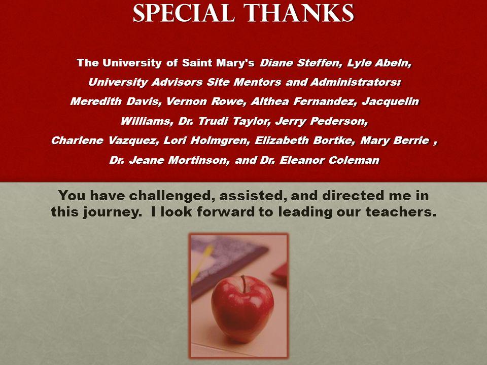 Special Thanks The University of Saint Mary s Diane Steffen, Lyle Abeln, University Advisors Site Mentors and Administrators: Meredith Davis, Vernon Rowe, Althea Fernandez, Jacquelin Williams, Dr.