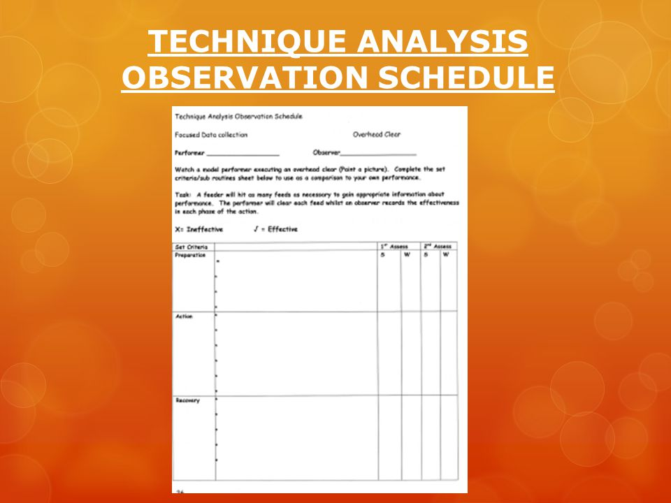 TECHNIQUE ANALYSIS OBSERVATION SCHEDULE