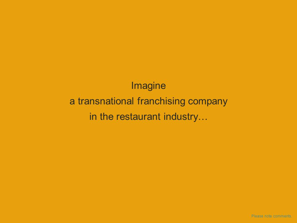 Imagine a transnational franchising company in the restaurant industry… Please note comments.
