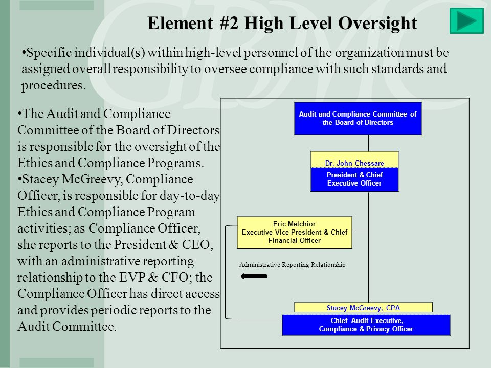 Element #2 High Level Oversight Specific individual(s) within high-level personnel of the organization must be assigned overall responsibility to over