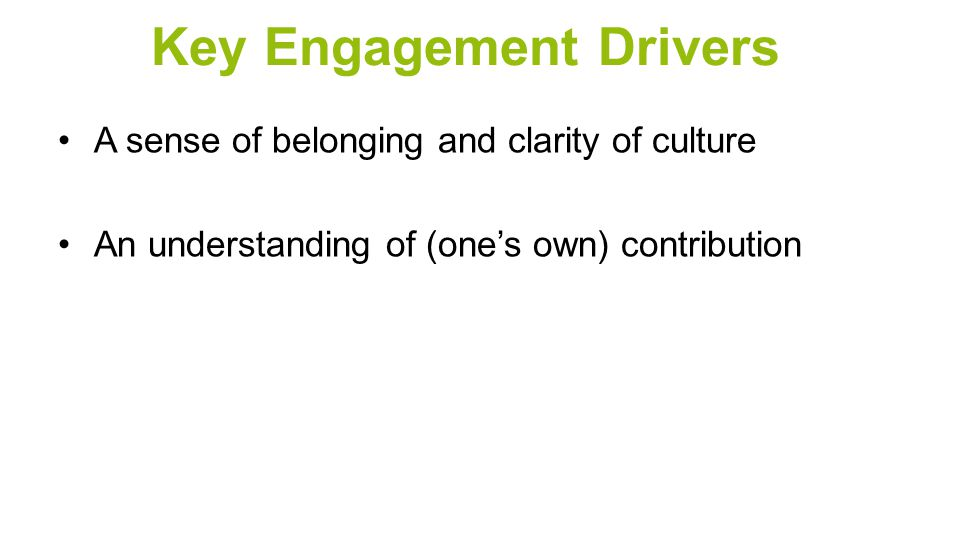 Key Engagement Drivers A sense of belonging and clarity of culture An understanding of (one's own) contribution