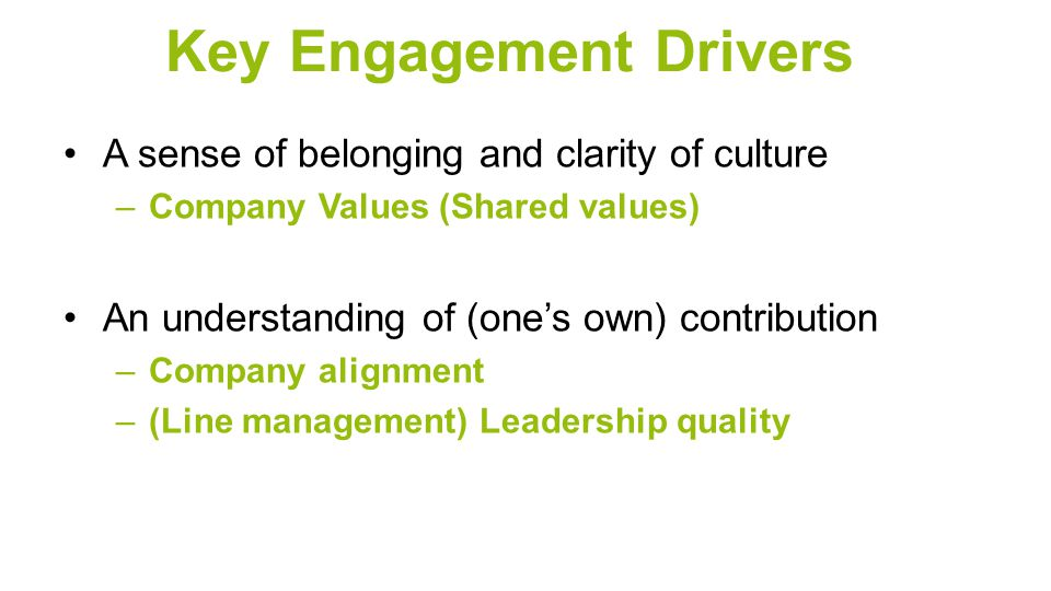 Key Engagement Drivers A sense of belonging and clarity of culture –Company Values (Shared values) An understanding of (one's own) contribution –Company alignment –(Line management) Leadership quality
