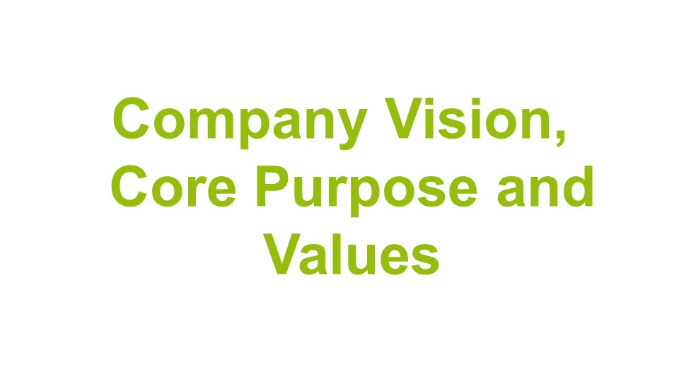 Company Vision, Core Purpose and Values