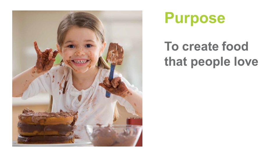 Purpose To create food that people love
