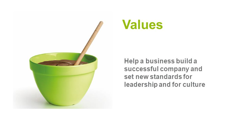Values Help a business build a successful company and set new standards for leadership and for culture