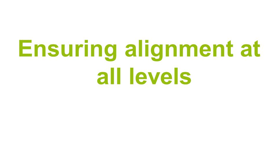 Ensuring alignment at all levels