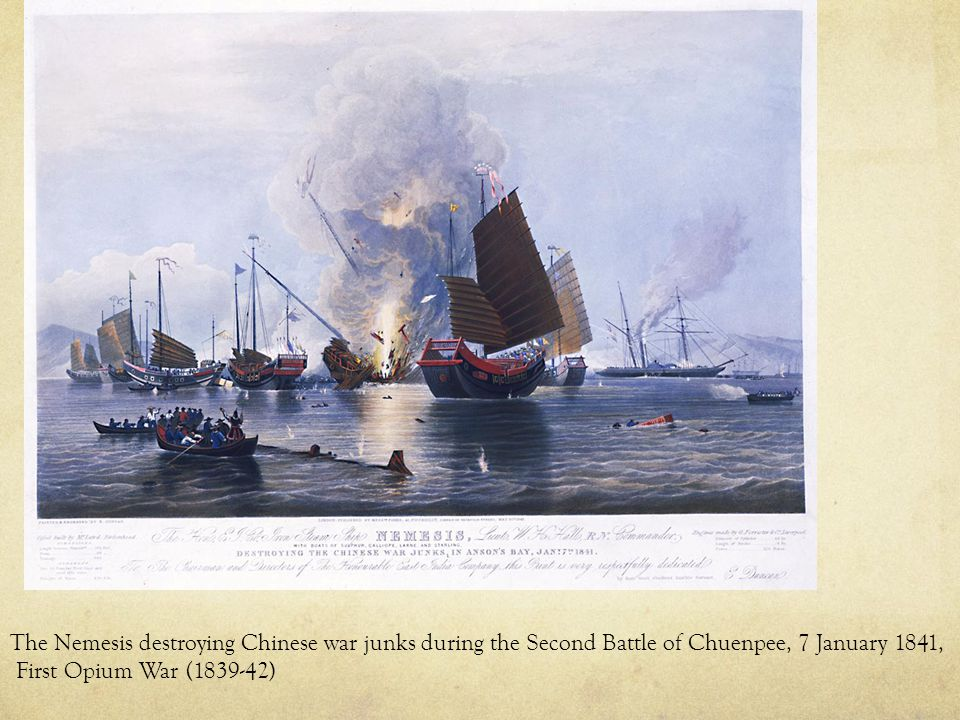 The Nemesis destroying Chinese war junks during the Second Battle of Chuenpee, 7 January 1841, First Opium War (1839-42)