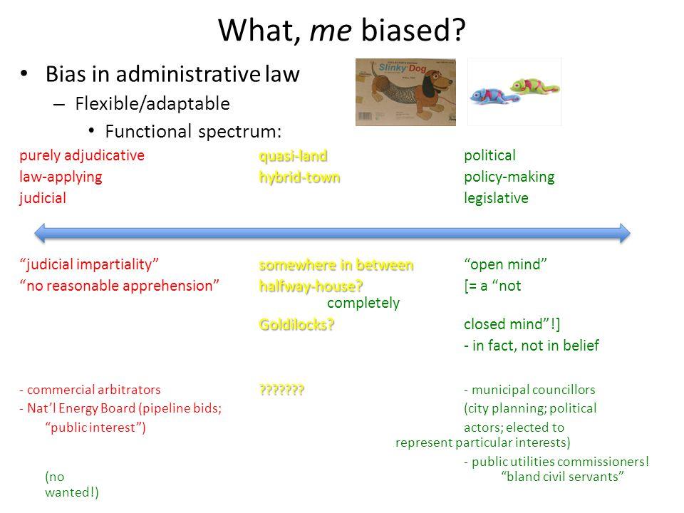 What, me biased? Bias in administrative law – Flexible/adaptable Functional spectrum: quasi-land purely adjudicativequasi-landpolitical hybrid-town la
