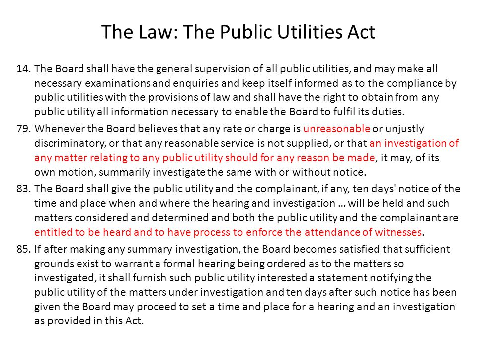 The Law: The Public Utilities Act 14.