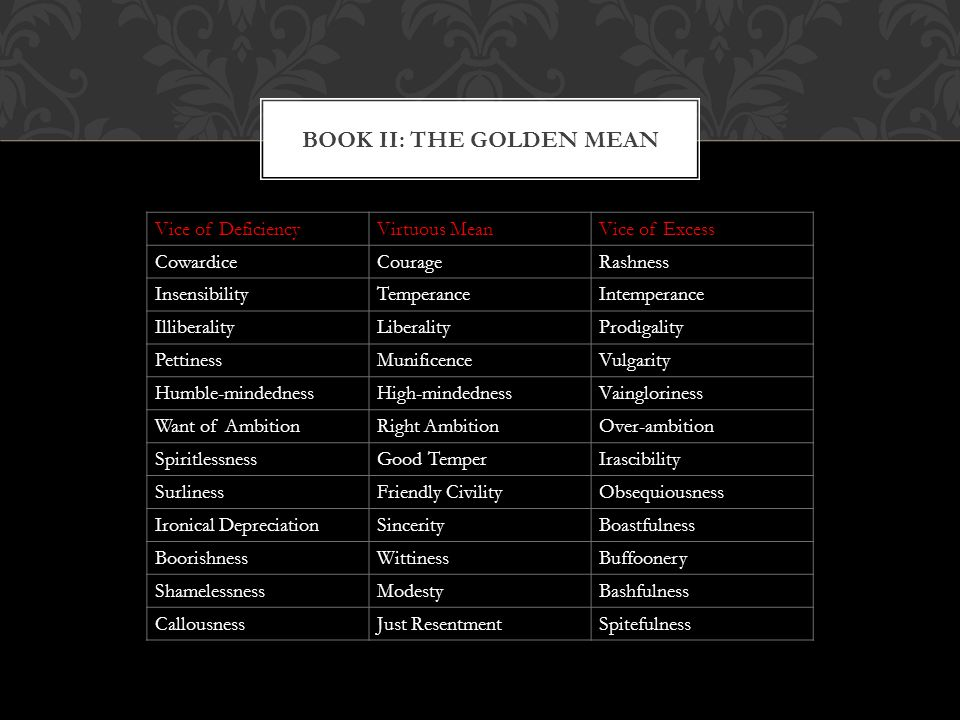 BOOK II: THE GOLDEN MEAN
