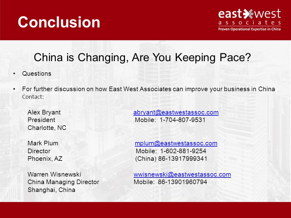 Conclusion China is Changing, Are You Keeping Pace.