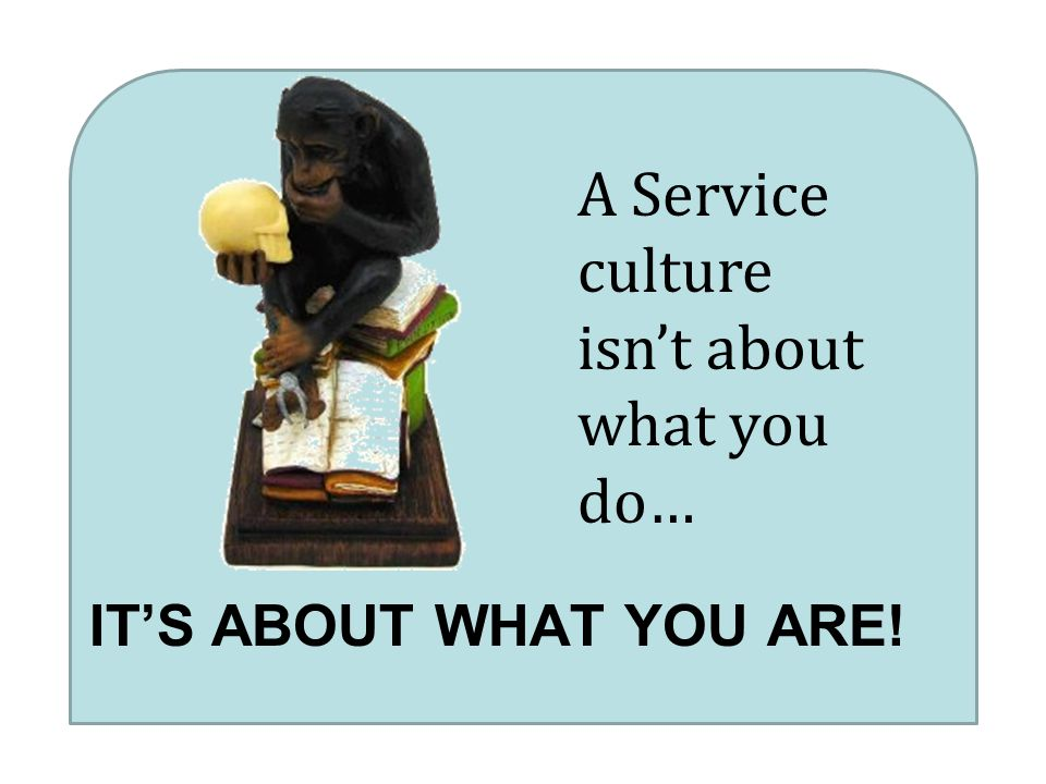 IT'S ABOUT WHAT YOU ARE! A Service culture isn't about what you do…