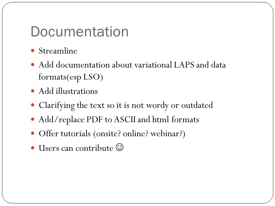Documentation Streamline Add documentation about variational LAPS and data formats(esp LSO) Add illustrations Clarifying the text so it is not wordy o