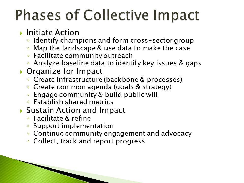  Initiate Action ◦ Identify champions and form cross-sector group ◦ Map the landscape & use data to make the case ◦ Facilitate community outreach ◦ A