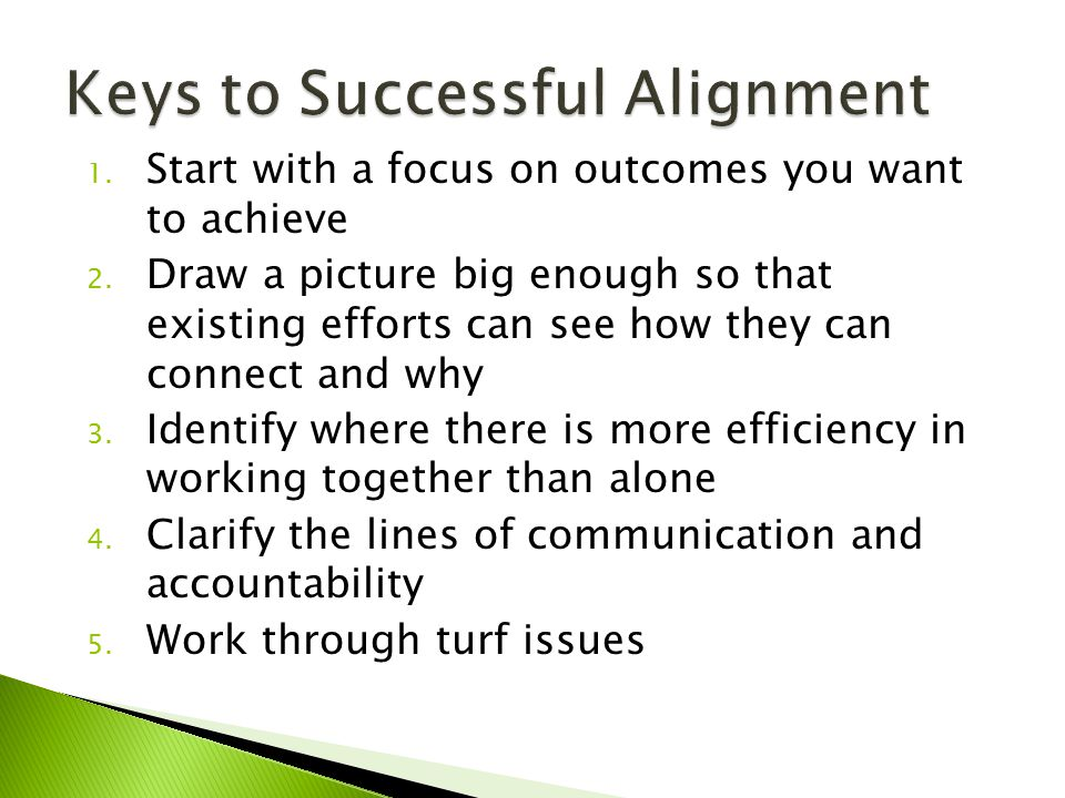 1.Start with a focus on outcomes you want to achieve 2.
