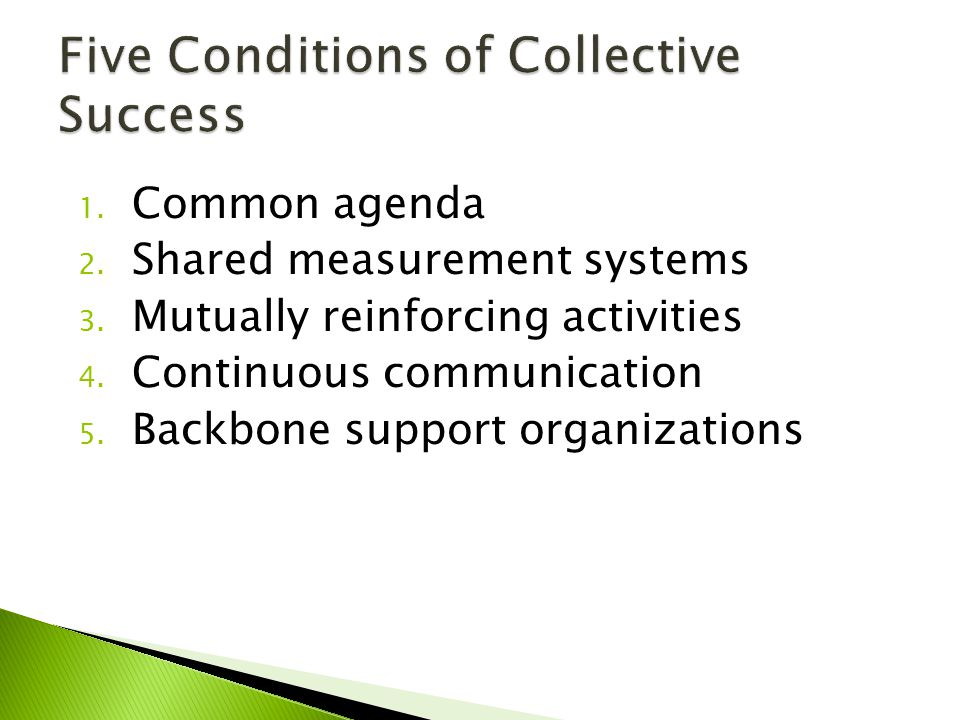 1. Common agenda 2. Shared measurement systems 3. Mutually reinforcing activities 4. Continuous communication 5. Backbone support organizations