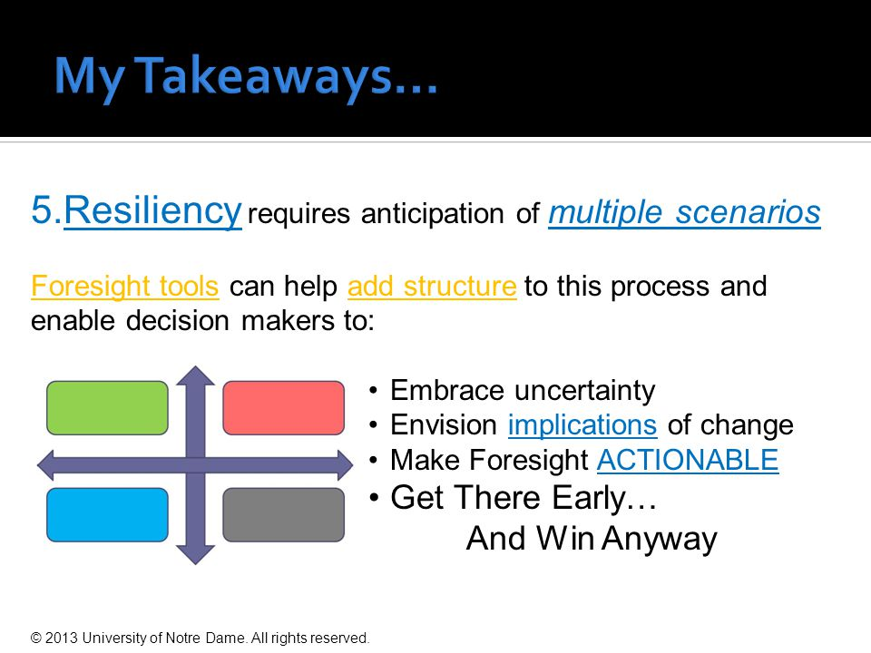 5.Resiliency requires anticipation of multiple scenarios Foresight tools can help add structure to this process and enable decision makers to: Embrace uncertainty Envision implications of change Make Foresight ACTIONABLE Get There Early… And Win Anyway © 2013 University of Notre Dame.