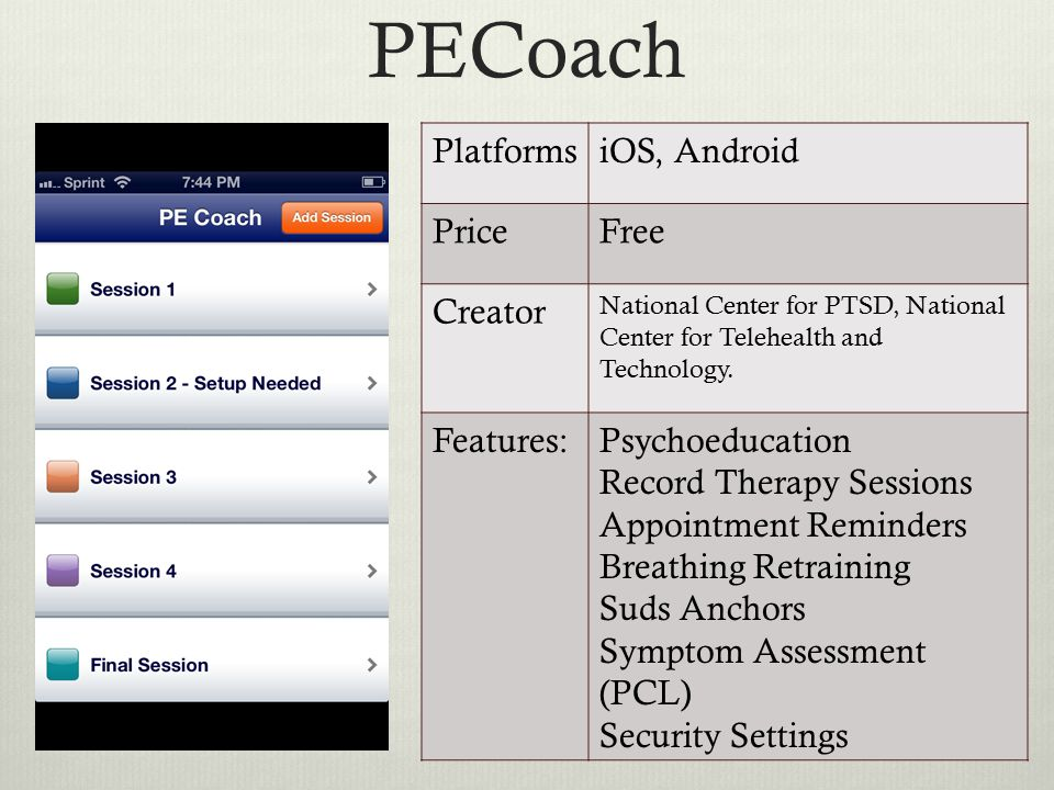 PECoach PlatformsiOS, Android PriceFree Creator National Center for PTSD, National Center for Telehealth and Technology.